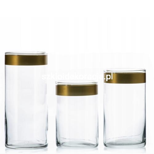 Wazon Szklany Prosty Cylinder Złoty Brzeg 20 Cm φ 11 Cm Mocne Szkło